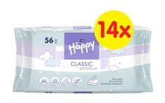 Bella Happy Classic Sensitive čistící ubrousky 14 x 56 ks