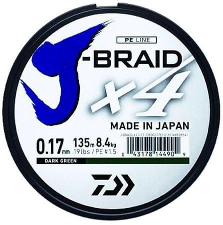 Daiwa Splétaná Šňůra J-Braid 4 Žlutá 270 m 0,29 mm, 18,6 kg