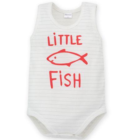 PINOKIO Chlapecké body Little Fish bez rukávu 68 biela