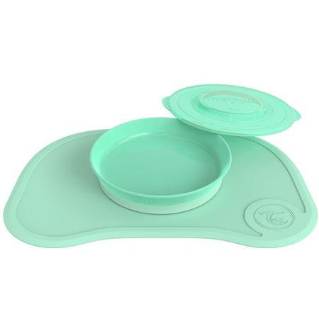 Twistshake Protiskluzová Podložka Click Mat + Talíř 6+m, Pastelová zelená