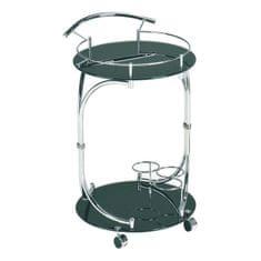 Servírovací stolík VESNA, čierne sklo/chróm