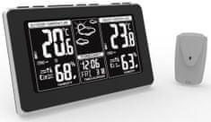 Solight meteostanica, extra veľký LCD displej, teplota, vlhkosť, RCC, čierna, strieborná, teplotný alarm