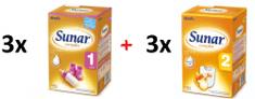 Sunar kojenecké mléko Complex 1 - 3x600g + Complex 2 3x600g