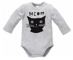 PINOKIO Dětské body Happy day s kočičkou - šedé