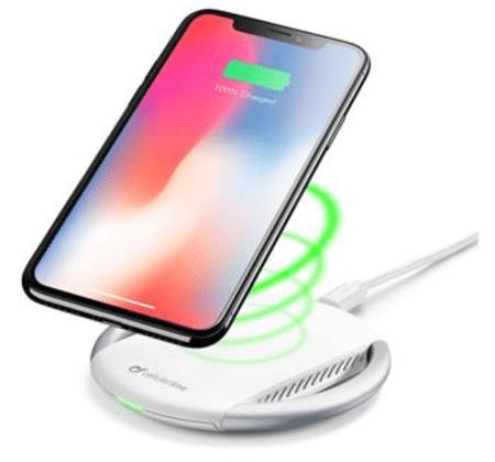 CellularLine brezžični polnilec Wireless Fast Charger Kit za iPhone, bel