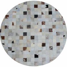 Luxusný kožený koberec, biela/sivá/hnedá, patchwork, 150x150, KOŽA TYP 10