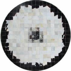 Luxusný kožený koberec, čierna/béžová/biela, patchwork, 200x200, KOŽA TYP 9
