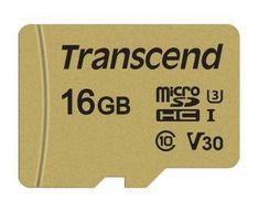 Transcend microSDHC pomnilniška kartica 500S, 16 GB, 95/60 MB/s, MLC, C10, UHS-I U3, V30, adapter