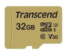 Transcend microSDHC memorijska kartica 500S, 32 GB, 95/60 MB/s, MLC, C10, UHS-I U3, V30, adapter
