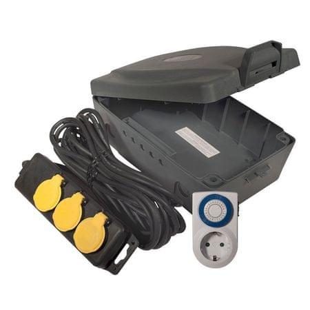 Masterplug podaljšek/razdelilec s časovnikom in vodoodporno škatlo box kit, 8m