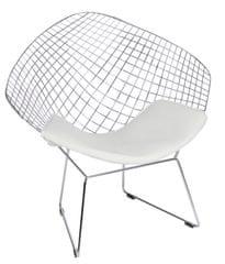 Mørtens Furniture Kreslo William, chróm/biela