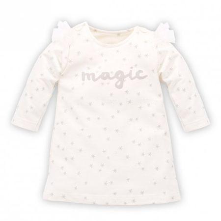 PINOKIO Dievčenské šaty s hviezdičkami Magic - béžové 68