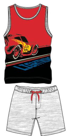 Disney by Arnetta chlapčenský letný set Cars 98 sivá/červená