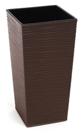 Lamela kvetináč FINEZIA DLUTO-vrúbok 400 x 400 tmavo hnedá