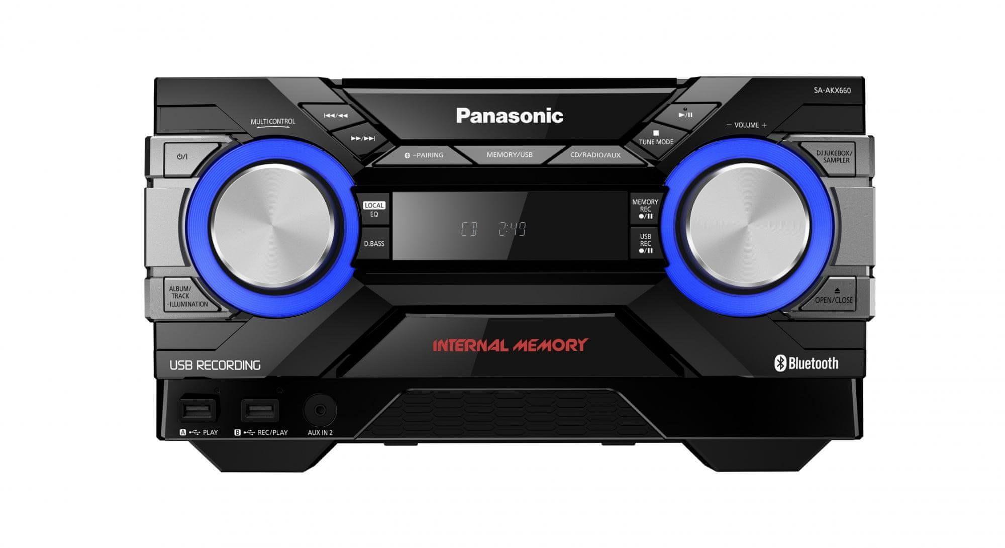 Panasonic SC-AKX660E-K minirendszer USB bemenet erős basszus