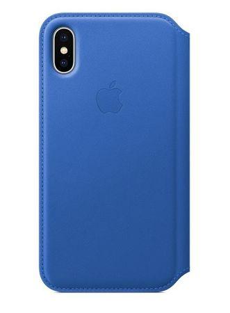 Apple usnjen ovitek Leather Folio za iPhone X, električno moder - Odprta embalaža
