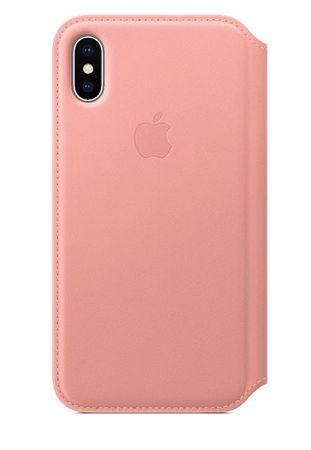 Apple usnjen ovitek za telefon Leather Folio za Apple iPhone X, svetlo roza