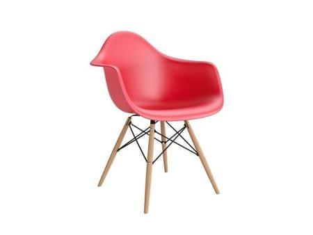 Mørtens Furniture Jídelní židle s dřevěnou podnoží Blom, červená