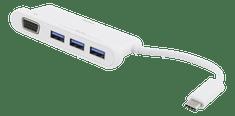 DELTACO USB čvorište hub USBC-HUB101, 3 x USB, VGA, USB-3.1 C, bijeli