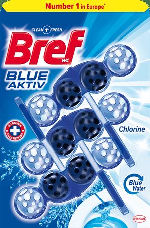 Bref čistilo za wc školjko Blue Aktiv Chlorine, 3x 50 g