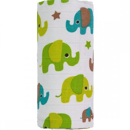 T-tomi BIO Nagy bambusztörölköző, zöld elefántok