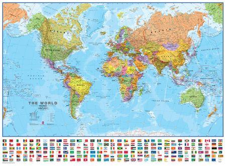 Svět politický nástěnná mapa 136x100 cm s vlajkami - papír