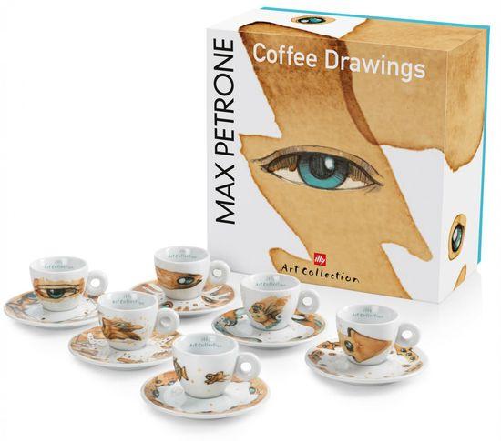 illy Sada šálok na cappuccino Max Petrone COFFEE DRAWINGS, 6 kusov