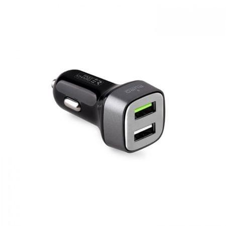 Puro auto-punjač FC Compact 2 USB 2.4a, kvadratni, crni