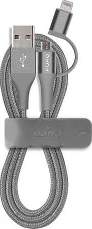 Puro kabel Apple Lightning + Mikro USB, siv