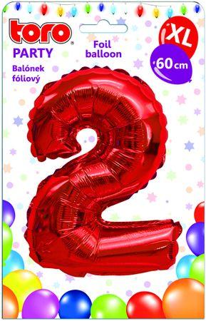 TORO Balónik XL Číslica 2 červená 60 cm
