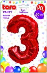 Toro Balónek XL Číslice 3 červená 60 cm
