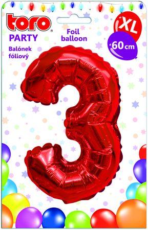 TORO Balónik XL Číslica 3 červená 60 cm