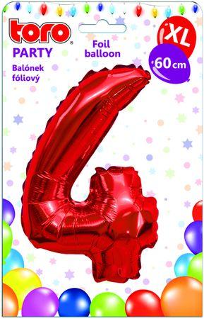 TORO Balónik XL Číslica 4 červená 60 cm