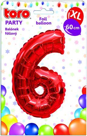 TORO Balónik XL Číslica 6 červená 60 cm