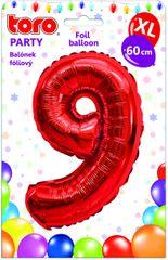 TORO Balónik XL Číslica 9 červená 60 cm
