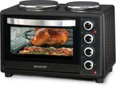 Sencor mini pečica s kuhalnima ploščama SEO 2828BK