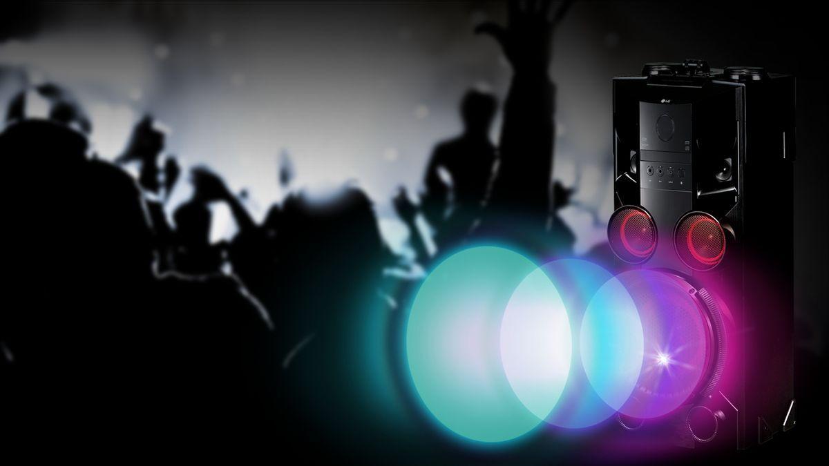 Minisystém LG OM5560 světelná show osvětlení párty klubová atmosféra