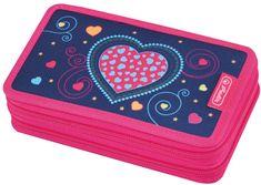 Herlitz piórnik szkolny dwupiętrowy Różowe serce