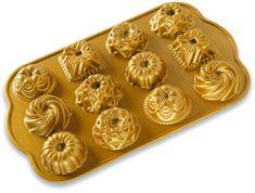 NordicWare Forma na minibábovky, plát s 12 formičkami zlatá