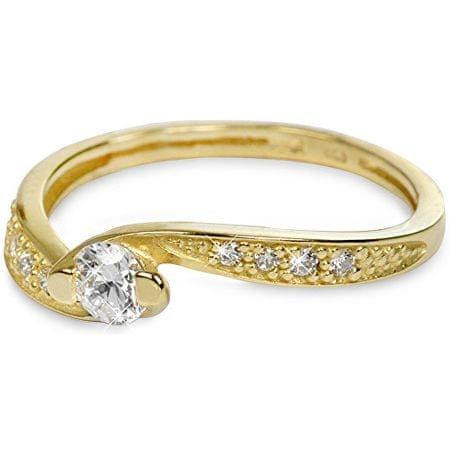 3baee0b81 Zlatý prsteň s kryštálmi 229 001 00458 (Obvod 54 mm) žlté zlato 585/ ...
