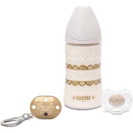 Suavinex Couture Premium Set 270ml + Klip + Dudlík 0-4m, Bílá - rozbaleno