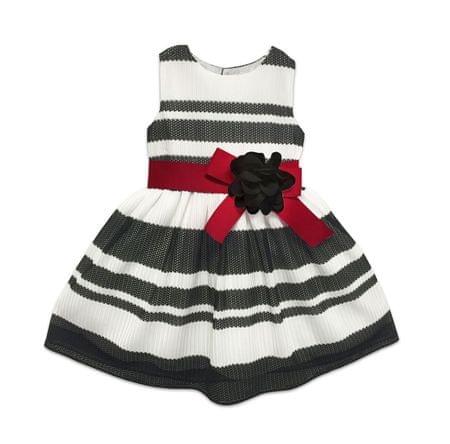 Joe and Ella Dívčí pruhované šaty s květinou - černo-bílé 116