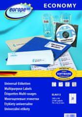 Europe100 bele papirne etikete ELA013, 70 x 42,3 mm, 100 listov, 2100 etiket
