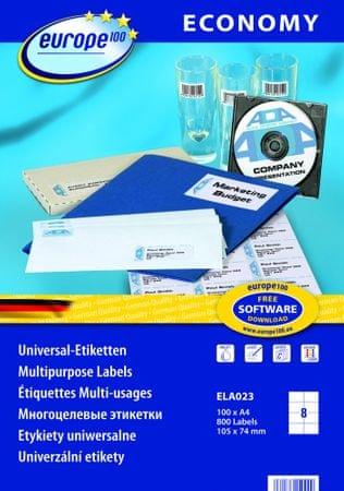 Europe100 bele papirne etikete ELA023, 105 x 74 mm, 100 listov, 800 etiket