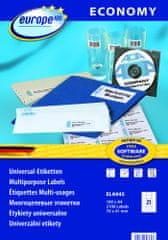 Europe100 bele papirne etikete ELA045, 70 x 41 mm, 100 listov, 2100 etiket