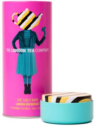 London Tea Company Fairtrade fekete piramis tea London Breakfast pléh dobozban, 15 db