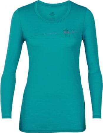 Icebreaker Damski t-shirt z długim rękawem Tech Lite, turkusowy S