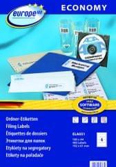 Europe100 bele papirne etikete ELA051, 192 x 61 mm, 100 listov, 400 etiket