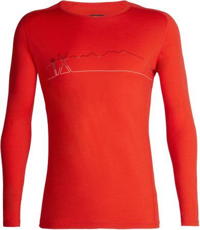 Icebreaker moška športna majica Mens 200 Oasis Deluxe Raglan LS Crewe Single Line Ski Chili Red, XXL, rdeča