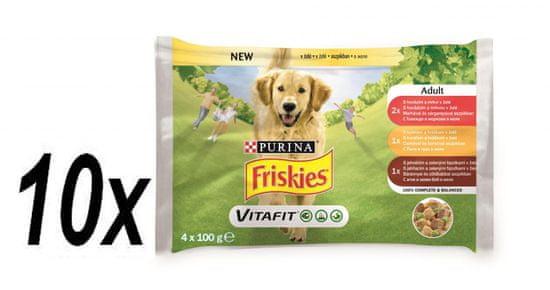 Friskies ADULT Dog multipack 10x (4x100g) hovädzie/ kura/ jahňacie v želé